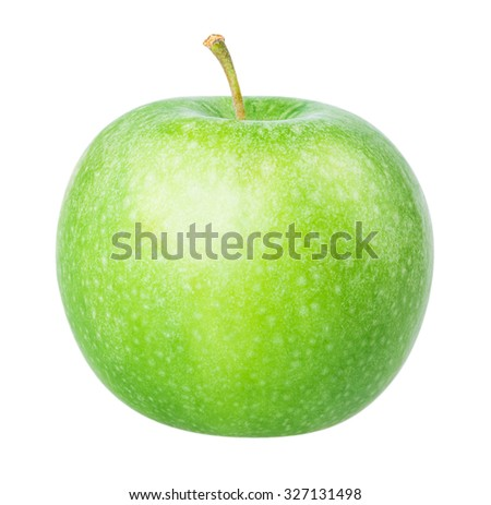 green apple Isolated on white background Clipping Path - stock photo