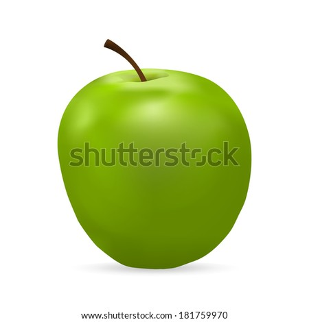 green apple on a white background - stock photo