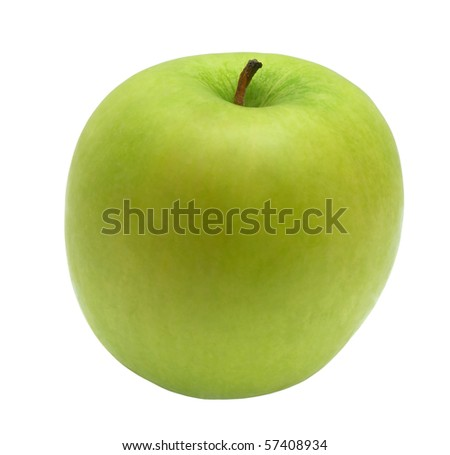 Green apple on a white background.