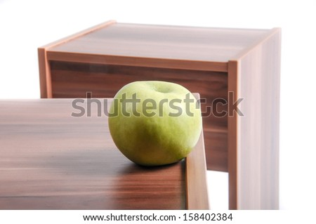 Green apple on top of the table  - stock photo