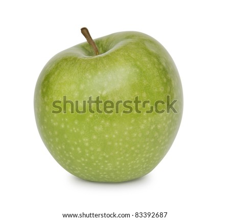 Green Apple over white background