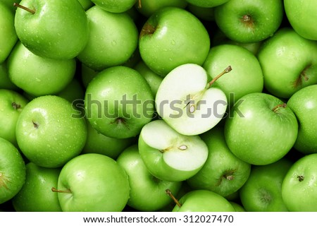 Green apple Raw fruit and vegetable backgrounds overhead perspective, part of a set collection of healthy organic fresh produce - stock photo