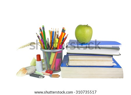 green apple, school background, notebooks - isolaed