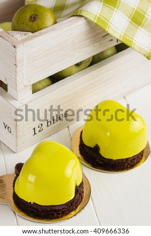 Green Apple Shaped Mousse Dessert Mirror Stock Photo (Royalty Free ...