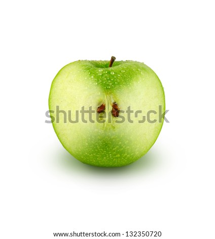 Green apple showing  transparent structure and seeds, isolated on white background - stock photo