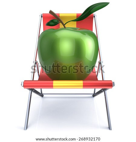Green apple sitting in beach chair. Beauty healthy fresh food diet summer open air nutrition vegetarian concept. 3d render isolated on white - stock photo