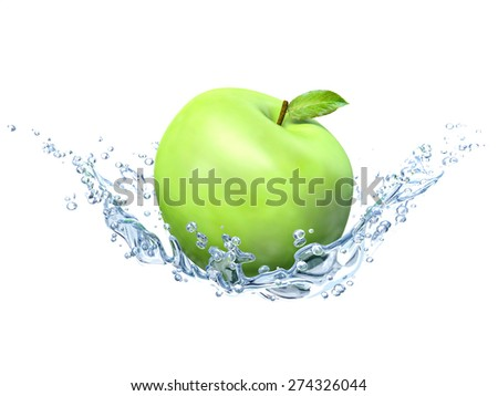 Green apple under water with a trail of transparent bubbles