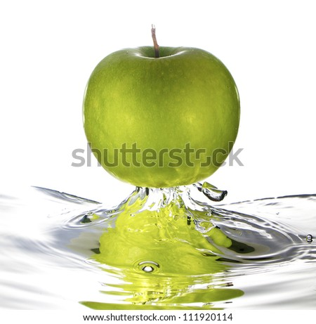 Green apple water splash - stock photo