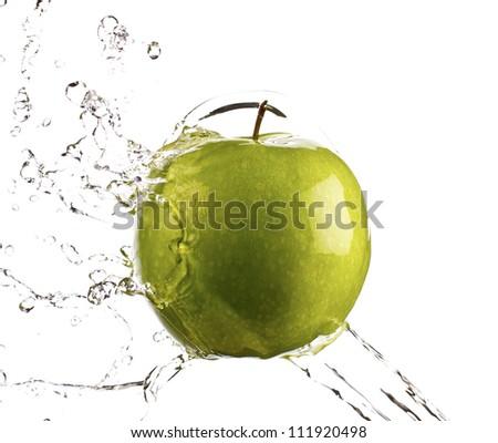 Green apple water splash with white background, high speed splash - stock photo