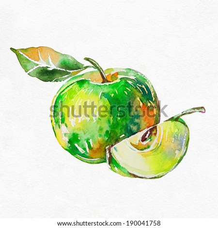 Green apple. Watercolor painting on white background. - stock photo