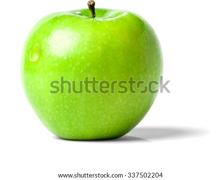 Green Apple with a Small Hole - Isolated