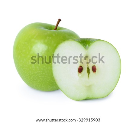 Green apple with cross half isolated on white background