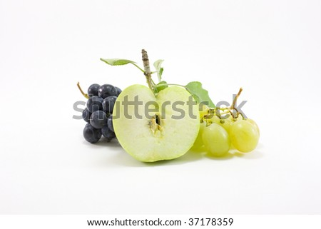 Green apple with grapes