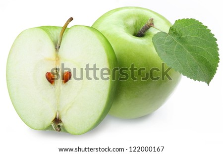 Green apple with half on a white background.