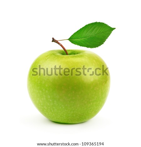 Green apple with leaf isolated on a white background - stock photo
