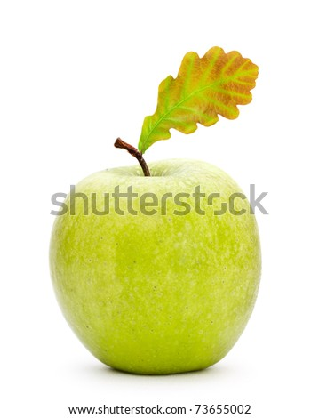 green apple with oak leaf isolated on white - stock photo