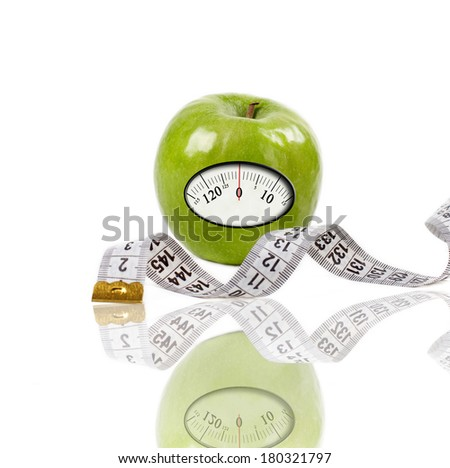 Green Apple With Scale for a Weighing Machine and White measuring tape, isolated on white