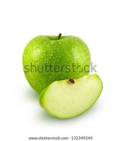 Green apple with slice on white background - stock photo