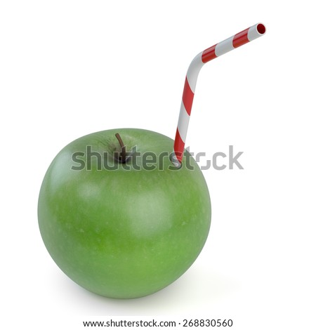 Green apple with straw on white background - 3D Render - stock photo