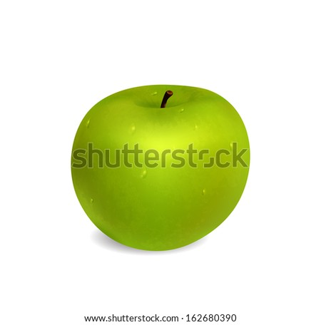 Green apple with water drops on white background. Raster version - stock photo