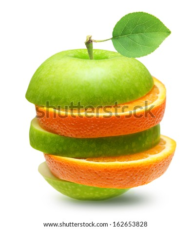 Green apples and orange slices  fruit isolated - stock photo