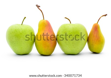 Green apples and ripe pears isolated on white background