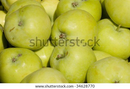 Green apples as background