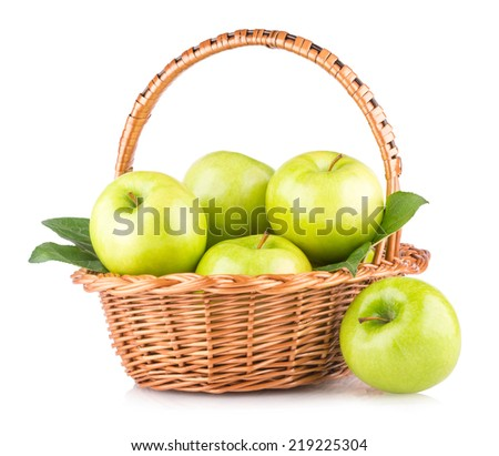 green apples in a basket - stock photo
