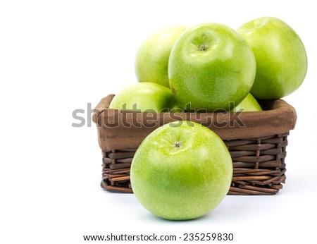 green apples in basket  - stock photo