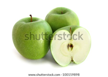 Green apples isolated over white background - stock photo