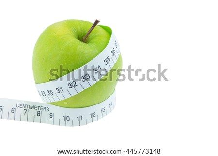 Green apples Measure around the waist Isolated on white background