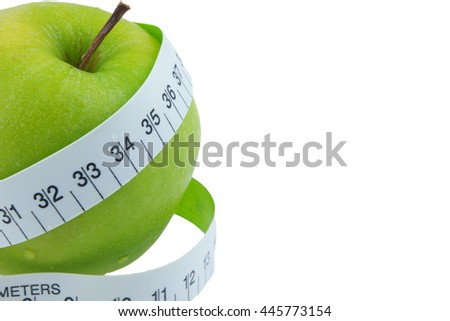 Green apples Measure around the waist Isolated on white background - stock photo