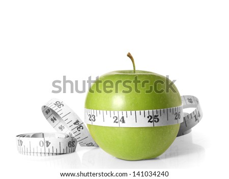 Green apples measured the meter on a white - stock photo