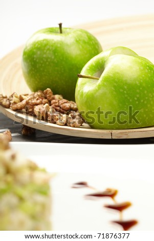 green apples with walnut - stock photo