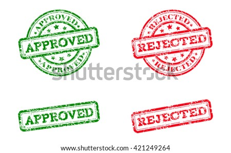 Green approved logo stamp and red rejected logo stamp. grunge style on white background. illustration. template for web design. infographics Raster version - stock photo