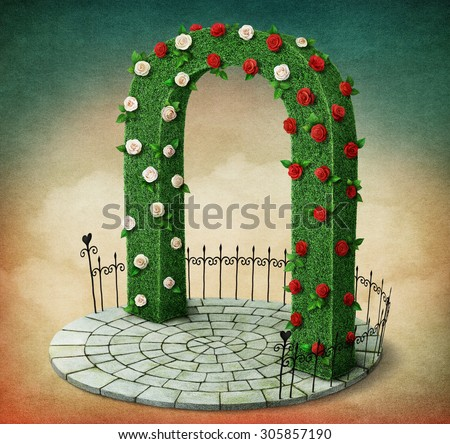 Green arch with roses and  fence on  round podium - stock photo