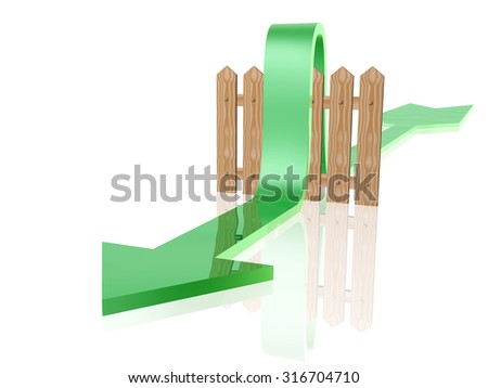 Green arrow and fence on white reflective background. - stock photo