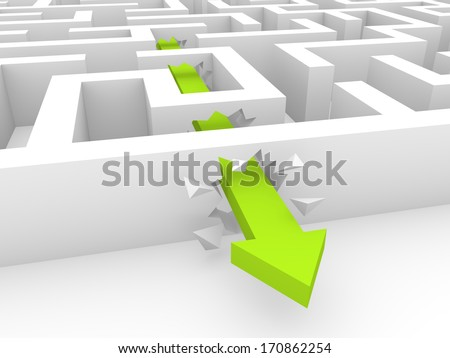 Green arrow breaking a way through labyrinth walls - stock photo