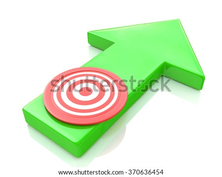 Green arrow direction to the target in the design of information related to the objectives - stock photo