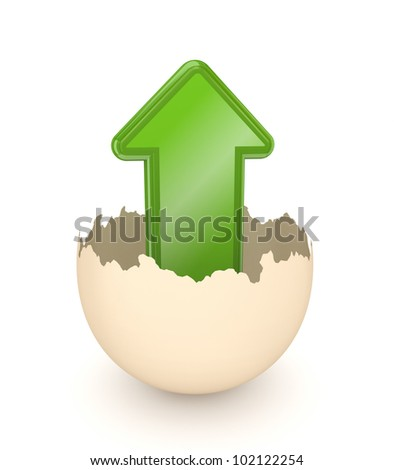 Green arrow in the eggshell.Isolated on white background.3d rendered. - stock photo
