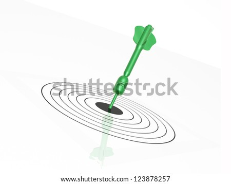 Green arrow on the target, white background.
