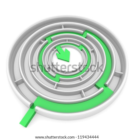 green arrow passes through the passages round the maze. computer Simulation - stock photo