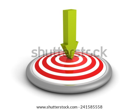 green arrow pointing in bull-eye center of target. 3d render illustration - stock photo