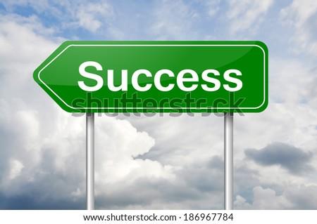 "Green arrow road sign ""Success"" - stock photo"