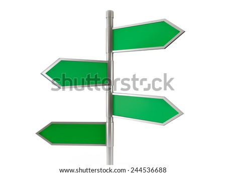 Green arrow road signs on a white background - stock photo