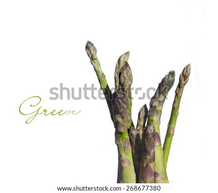 Green Asparagus Vegetable isolated on white background - stock photo