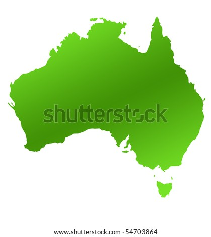 Green Australia map, isolated on white background.