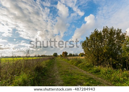 Green autumn fields with country road. Massive stormy clouds. Nature landscape.