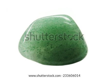 green avanturine semigemcrystal geological mineral isolated  - stock photo
