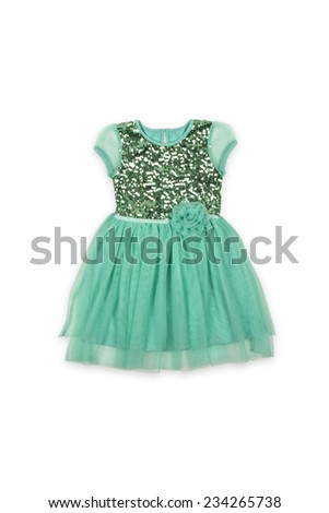 green baby dress with flower on a white background  - stock photo